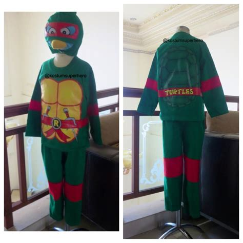 Topeng Anak Turtle kostum kura kura anak anak ready size 18 dan 20