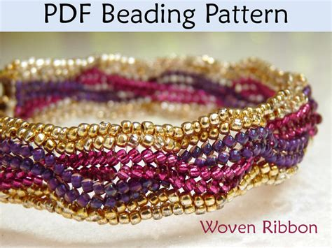 beading pdf woven ribbon pdf beading pattern by simplebeadpatterns on