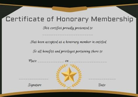 honorary member certificate template free membership certificates 14 templates in word format