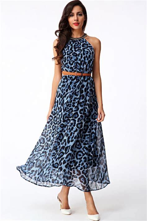 Blue Army Maxi Dress blue leopard print halter maxi dress 025632 casual