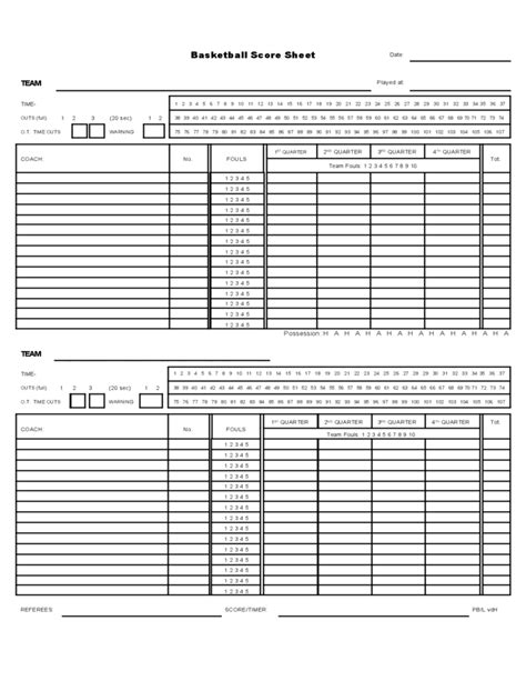 basketball scoresheet template sle basketball score sheet free