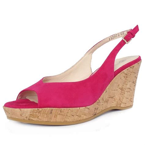 Sandal Wedges Wg14 Pink kaiser bobby fuchsia pink suede wedge shoes mozimo