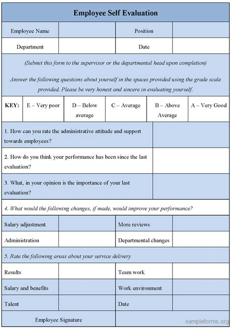 employee self evaluation form sle forms