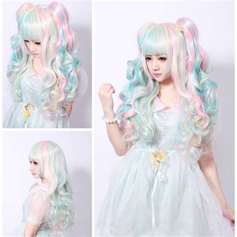 Hairclip Ombre Curlyponytailwig 68cm wig pink blue mixed beige ombre curly clip in ponytails bangs wig