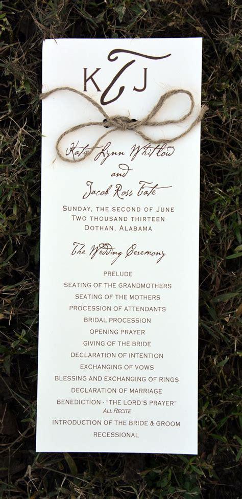 programs for wedding invitations best 25 rustic wedding programs ideas on