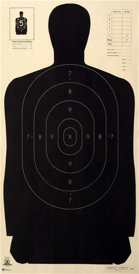 500 Yard Target Size by Official Nra B 27 B27 Silhouette Targets 23 Quot X 45