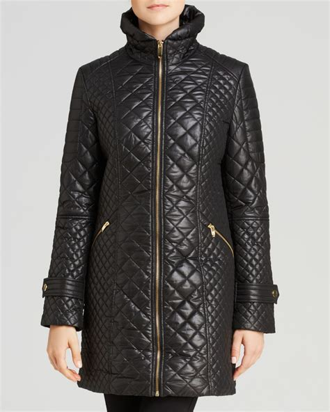 Black Quilted Coat by Via Spiga Zip Front Quilted Coat In Black Lyst