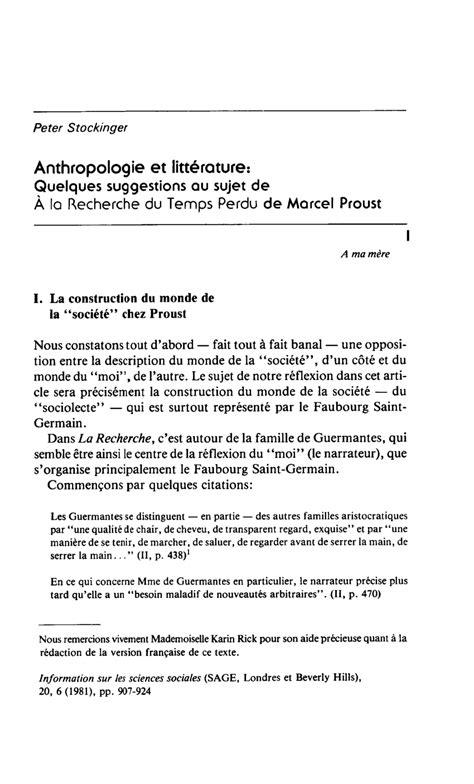 anthropologie et histoire au 222607872x anthropologie et litterature quelques suggestions au sujet de a la recherche du temps perdu de