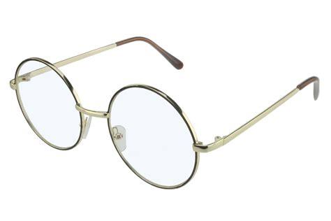 glasses clear lens gold frame black circle