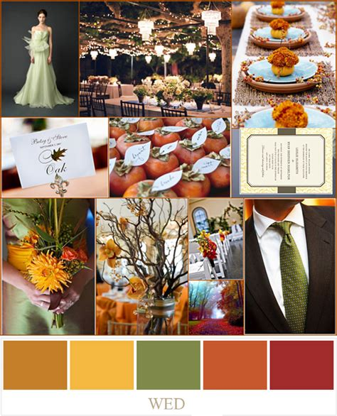 wedding colors for fall fall wedding color palette ideas 2014 trends