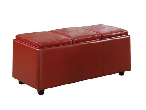 large storage ottoman simpli home avalon faux leather rectangular