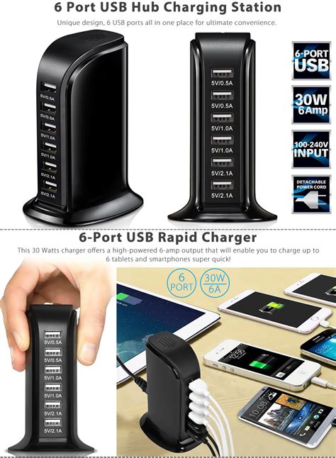 6 usb port rapid charger desktop charging station bamboo multi 30w multi 6 port usb charger 6a rapid charging station