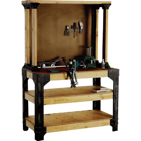 work bench kit 2x4 basics anysize workbench kit with shelflinks model