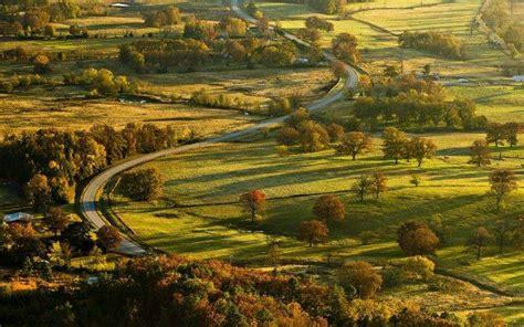 nature landscape field trees road village grass