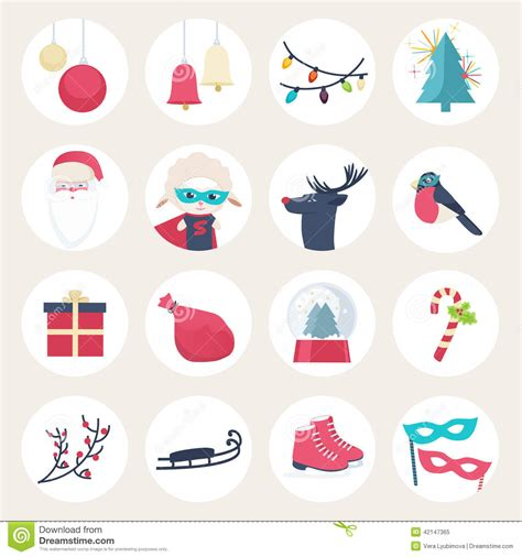 new year icon set set of colourful new year icons stock vector image 42147365