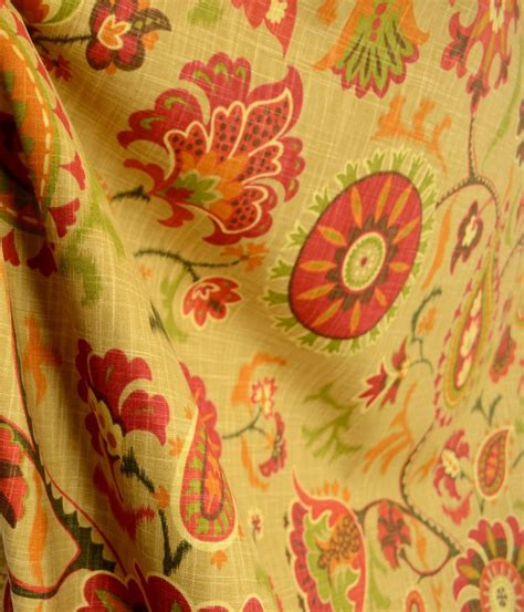 drapery cloth waverly fabric siren song cayenne floral paisley suzani