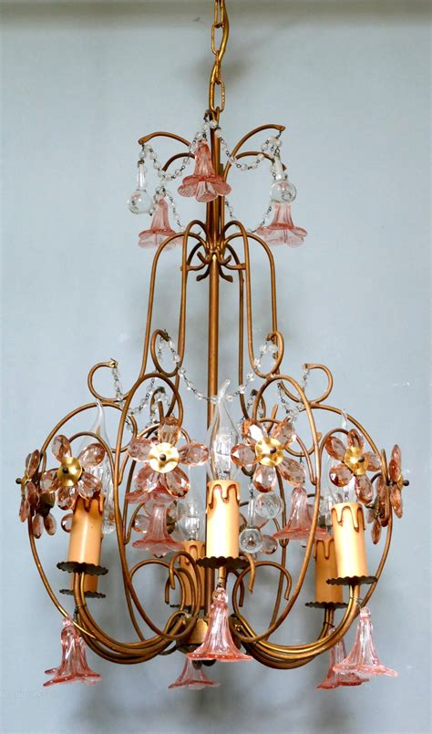 pink chandelier table l antiques atlas pink glass chandelier light fitting