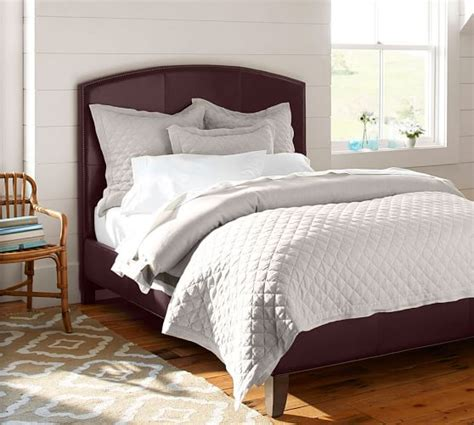 fillmore curved leather headboard bed pottery barn