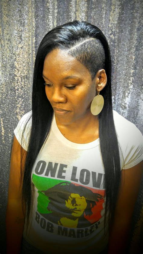 edgy sew in with shaved sides my hairstyles hair