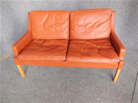 burnt orange leather sofa two seat burnt orange leather sofa by rud thygesen and