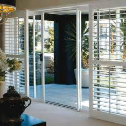 Dark Wood Window Blinds Plantation Shutters On Sliding Doors Beach House Inspo