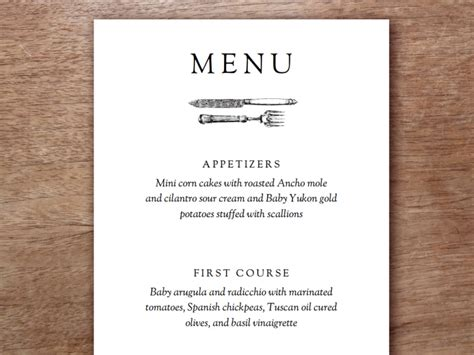 dinner menu card template get modern wedding invitations from e m papers