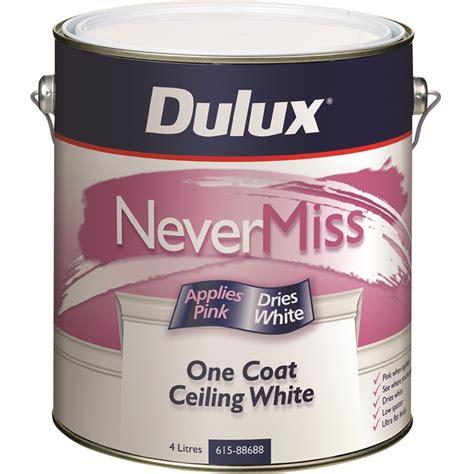 dulux nevermiss 4l one coat white ceiling paint bunnings warehouse