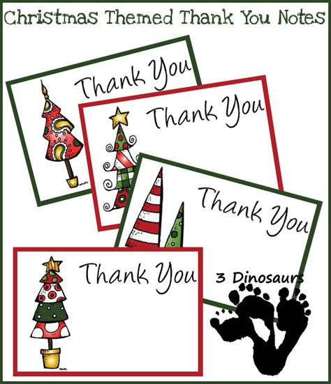 printable holiday thank you notes for teachers free christmas thank you notes 3 dinosaurs
