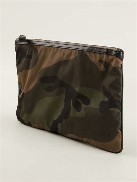 Camouflage Clutch lyst valentino camouflage clutch in green for