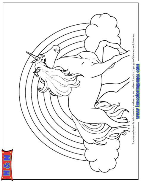 Unicorn With Rainbow Coloring Page | rainbow and unicorn coloring page h m coloring pages