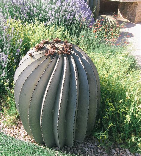 metal cactus garden steel fishhook barrel cactus home garden patio