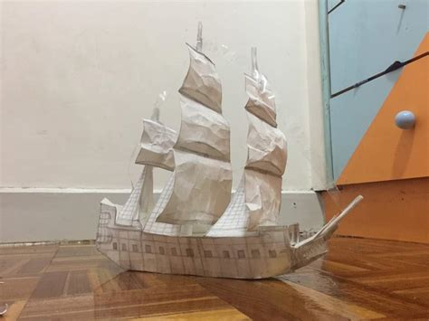 Papercraft Pirate Ship - the hardest papercraft i ve done of the