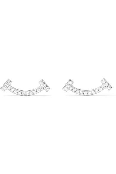 Tiffany & Co T Smile 18-Karat White Gold Diamond Earrings