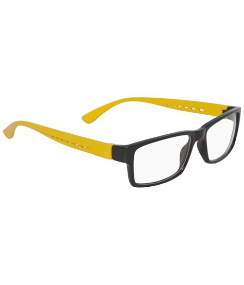 mall4all black yellow rectangular eyeglass frame for