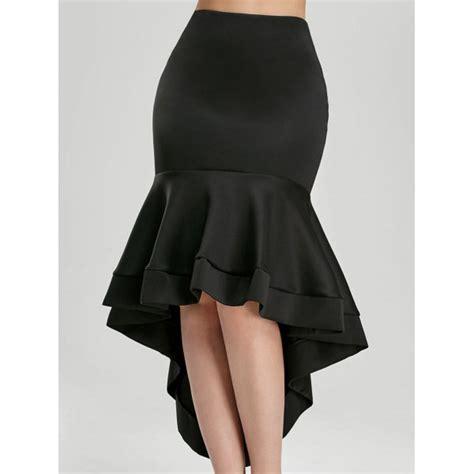 wholesale ruffle trim high waisted high low skirt l black