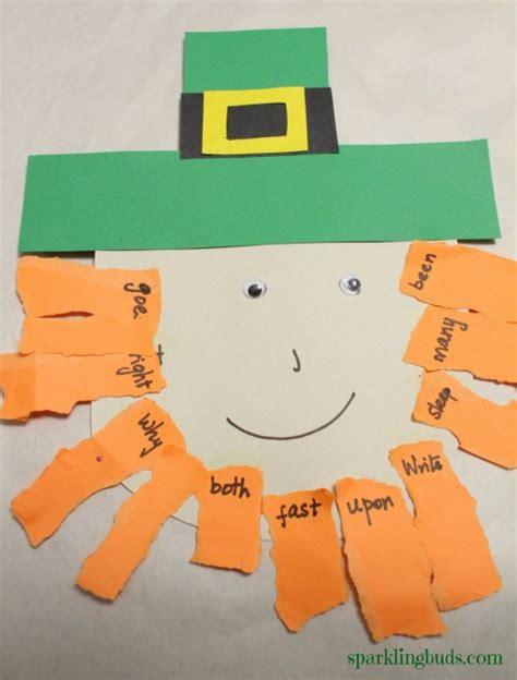 leprechaun pattern for kindergarten leprechaun craft sight words matching sparklingbuds