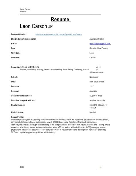 Resume Sle Apartment Address Resume L C Carson