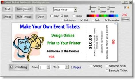 print your own event admit tickets ticket templates