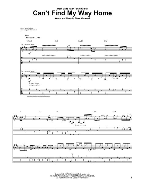 can t find my way home guitar tab by blind faith guitar