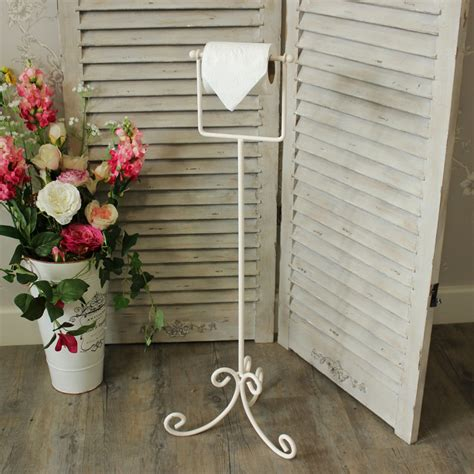 cream painted metal toilet roll holder stand bathroom wc shabby vintage chic ebay