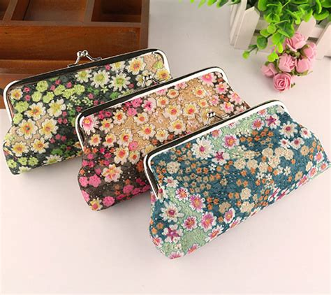 pattern fabric purse embroidery floral fabric pattern coin purse lady 6 inch
