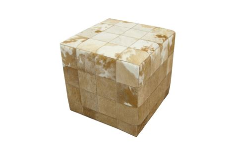 cowhide ottoman cube cowhide cube pouf ottoman patchwork beige white fur home