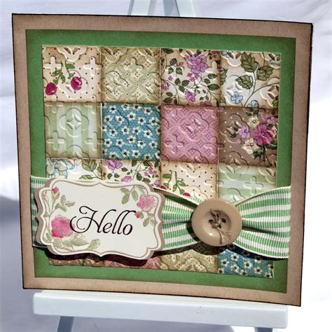 Patchwork Cards - crafting becky vintage patchwork card