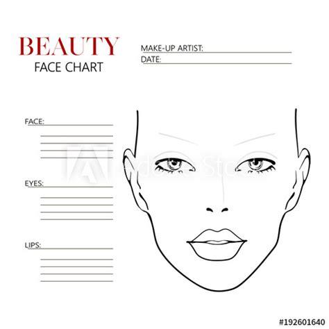 Beauty Face Chart Beautiful Woman With Open Eyes Face Chart Makeup Artist Blank Template Makeup Chart Template