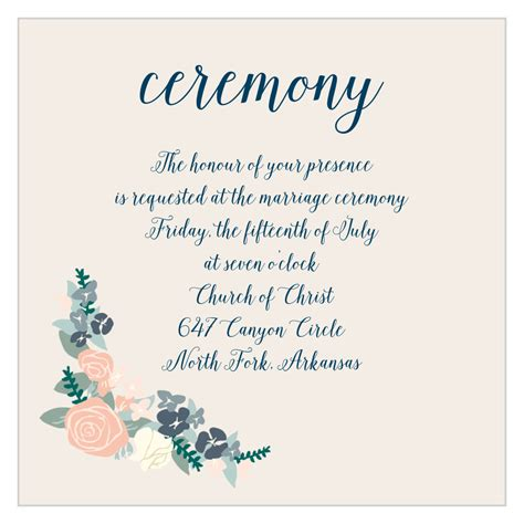 illustrated corner wreath ceremony cards