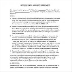 hipaa business associate agreement template sle business associate agreement 6 free documents