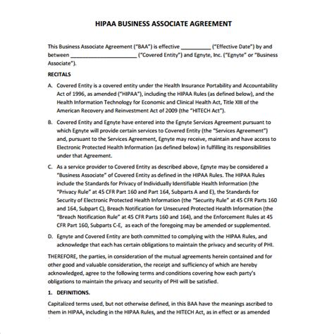 hipaa business associate agreement template 2013 sle business associate agreement 6 free documents