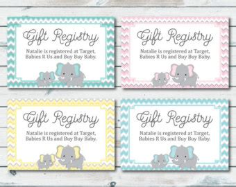 Baby Shower Registration Card Templates by Baby Registry Etsy