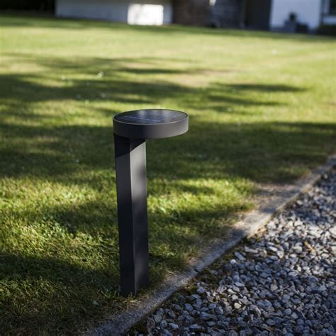 Lutec Diso Bollard Solar Powered 2w Led 200 Lumen Exterior Solar Led Bollard Lights