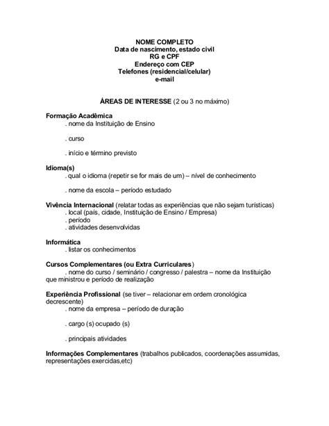 Modelo Curriculum Vitae Academico Modelo Curriculo Estagio
